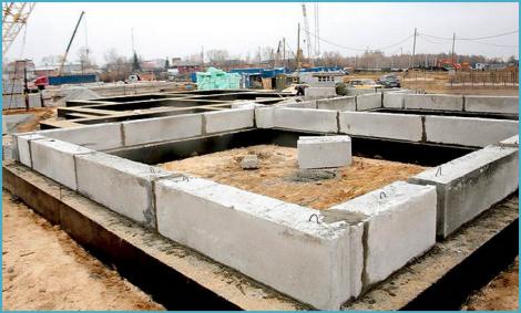 Фундамент для дома  из фбс блоков 91